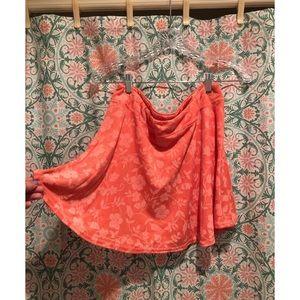 VINTAGE Coral pink ribbed mini summer sun skirt